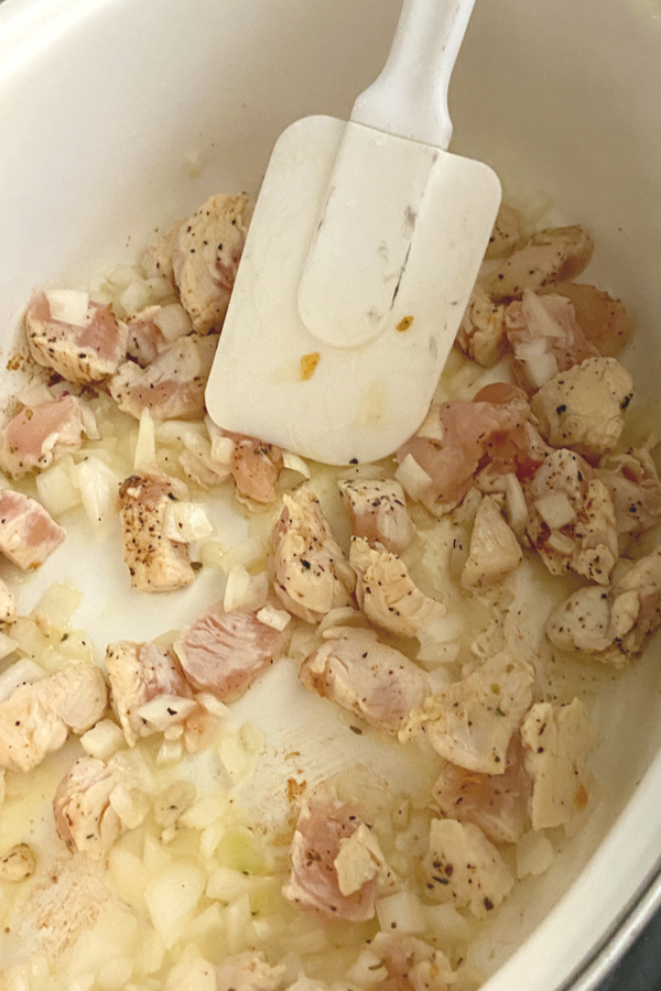 chicken and diced onions